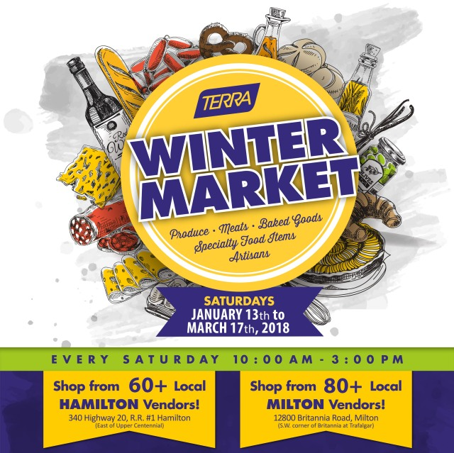 Facebook and Twitter - SHARE ME TERRA Winter Market Poster